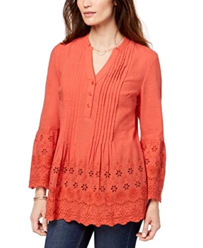 - Style & Co. Womens Petites Eyelet Smocked Blouse Pink PL