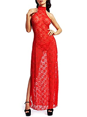 Amoretu Womens Floral Lace Lingerie Long Cheongsam Side Split Gown