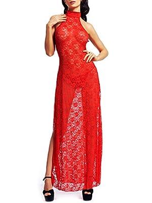 Amoretu Womens Floral Lace Lingerie Long Cheongsam Side Split Gown