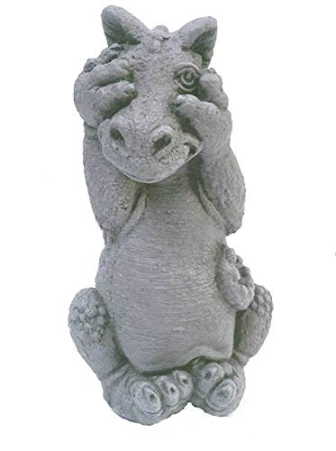 Little Darling Dragon Baby Peek A Boo Solid Cast Stone Garden Statue A Great Home Or Garden Idea Durable Lifelike Sculpture Fun Exterior