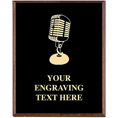 Crown Awards Microphone Plaques, Custom Engraved Singing Trophy Plaque Award, Great Customizable Microphone Gift -
