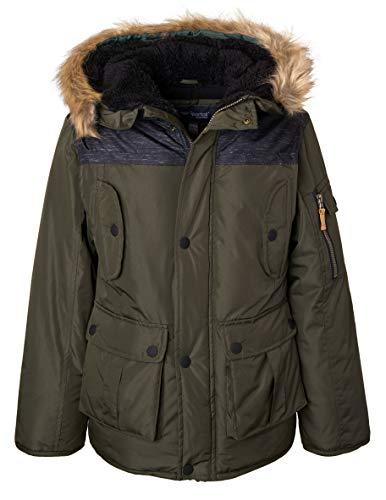 - Sportoli Boys' Heavy Fleece Lined Winter Puffer Parka Coat Jacket Fur Trim Hood - Olive Drab (Size 14/16)