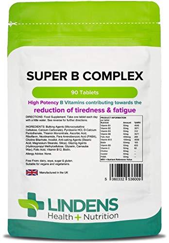 Lindens Supercomplejo de vitamina B en comprimidos | 90 Paquete | Fórmula superpotente que contiene 8
