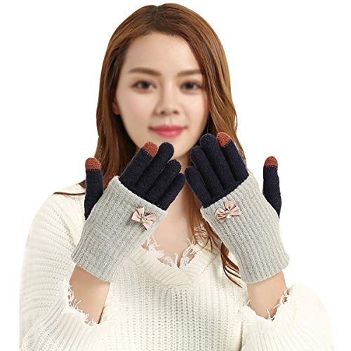 Monique Women Bow Woolen yarn Knit Touchscreen Gloves Convertible Full-finger Gloves Fingerless Gloves Motorcycle Bicycle Gloves Mittens Grey