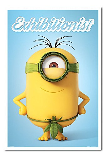 Minions The Exhibitionist Poster Cork Pin Memo Board White Framed - 96.5 x 66 cms (Approx 38 x 26 inches) -