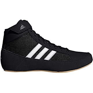 adidas Kids' HVC Wrestling Shoe, Black/White/Iron Metallic, 5.5