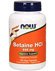 Now Foods Betaine HCl, 120 Caps 648 mg (Pack of 4)