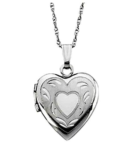14k White Gold Heart Locket Necklace, 18'' by The Men's Jewelry Store (for HER)