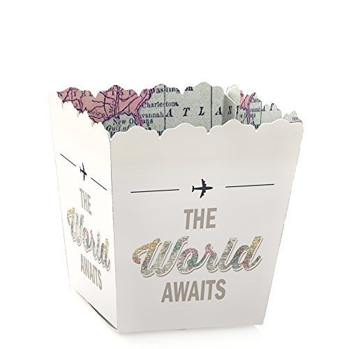 World Awaits - Party Mini Favor Boxes - Travel Theme Graduation Party Treat Candy Boxes - Set of -