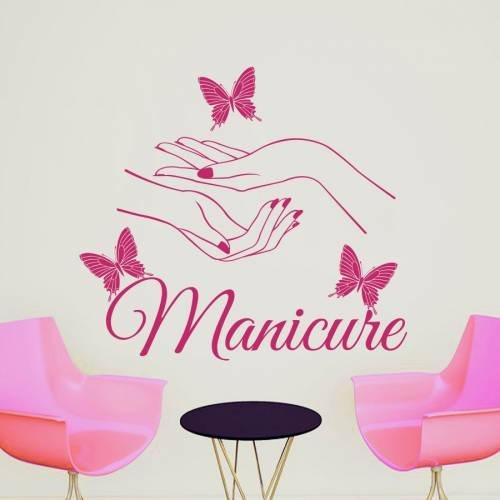 Wall Decals Beauty Salon Nail Art Manicure Vinyl Decal Interior Decor Sticker Hairdresser Hairstyle Barbers Hands Butterflies ML104 (House German Art)