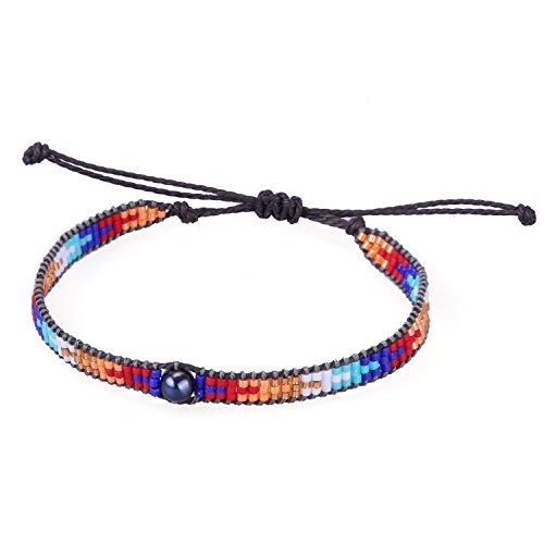 (KELITCH Pearl Sead Beaded Wax Rope Charm Wrap Bracelets Handmade Friendship New Women Jewelry (Color))