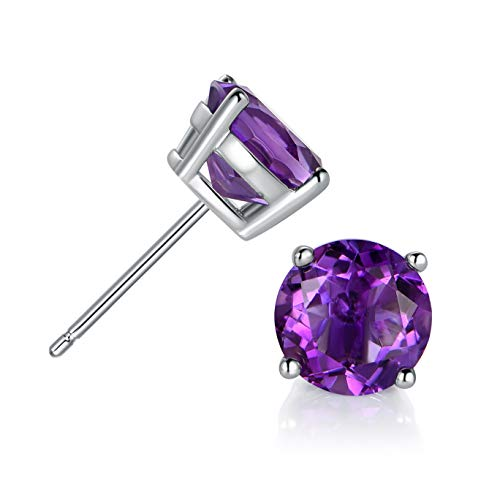 - GEMSME 925 Sterling Silver 8.0mm Round Amethyst Gemstone Stud Earrings Filled With 18K White Gold