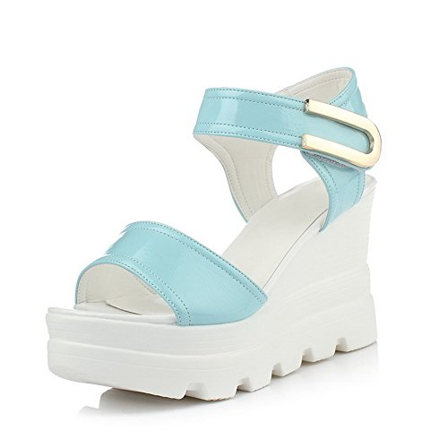 AllhqFashion Mujeres Velcro Plataforma Charol Pu Sólido Peep Sandalia Azul