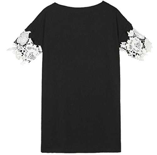 Coolred Short Over Lacework Stitch Crewneck Sized Fitted Black Women Dress Cocktail Sleeve tqxCrawtA