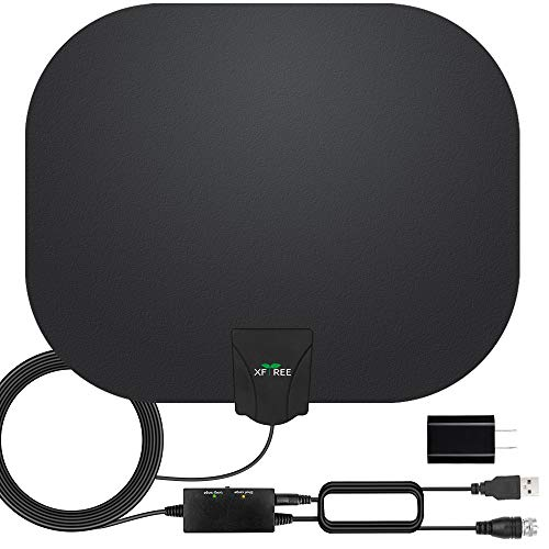 HDTV Antenna, 2019 Newest Indoor Digital TV Antenna 130+ Miles Range with Amplifier Signal Booster 4K HD Free Local Channels Support All Television -17ft Coax Cable (Best Indoor Hd Antenna 2019)