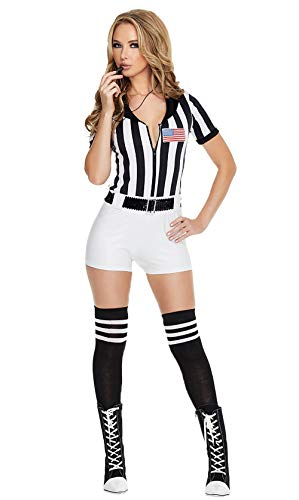 JJ-GOGO Referee Costume Women - Fancy Sexy Scandalous Basketball Referee Romper Costumes for Adult