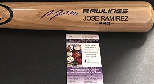 Jose Ramirez Cleveland Indians Autographed Signed Blonde Baseball Bat JSA (Ramirez Signed Bat)