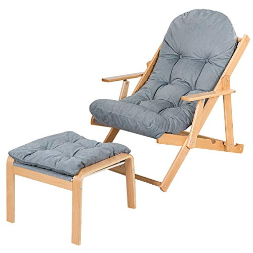 NanaPluz Adjustable Folding Recliner Lounge Chair w/Ottoman & Gray Padded Seat with Ebook