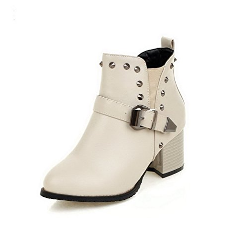 Boots Pull Closed Top AgooLar Soft Low Round Women's Heels Beige On Toe Kitten Material Bp6w7Zq