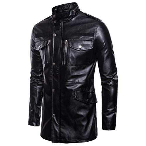 EnergyMen Pocket with Zip Md-Long Coat Stand Collar Pu Leather Jacket Black