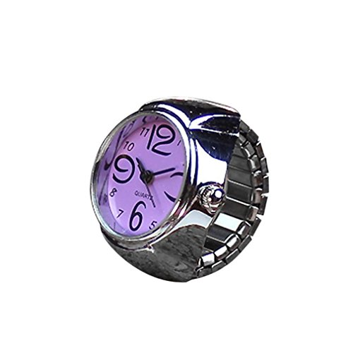 1 Pack Women Female Girl Wedding Dial Quartz Analog Ring Watch Set Simple Steel Cool Elastic Band Engagement Bride Gift (Purple) from Goodtrade8