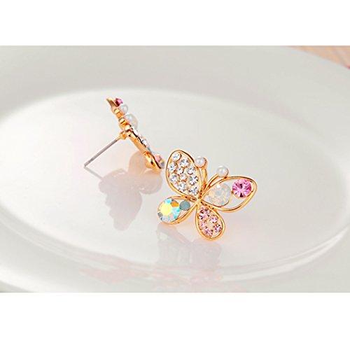 [Duo La Butterfly Cubic Zirconia Cute Women's Fashion Stud Earrings] (Wine Bottle Costumes Halloween)