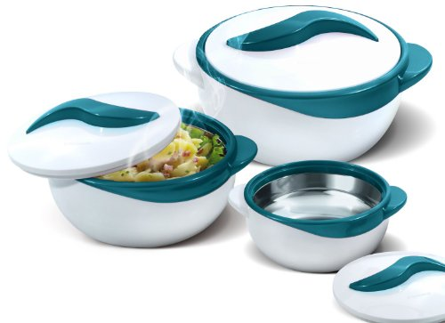 Pinnacle 3 Piece Thermo Dish Hot or Cold Casserole Serving Bowls with Lids Turquoise