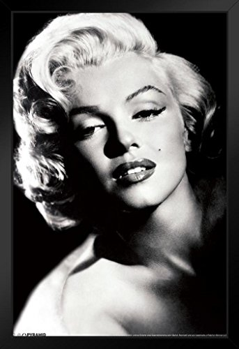 (Pyramid America Marilyn Monroe Glamour Hollywood Celebrity Actress Model Icon Black White Photograph Photo Framed Poster 14x20)