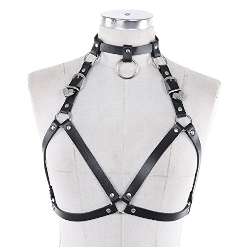 ACSUSS Women's PU Leather Body Caged Harness Hallow Out Bra Top Clubwear Type B Black One ()