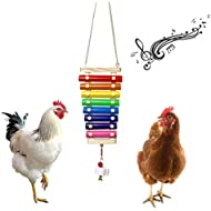 Vehomy Chicken Xylophone Toy for Hens Suspensible Wood Xylophone Toy with 8 Metal Keys Chicken Coop Pecking Toy with Grinding Stone