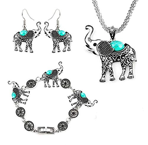 CHASIROMA Womens Vintage Silver Ethnic Tribal Elephant Boho Pendant Necklace Drop Earrings Link Bracelet Jewelry Sets