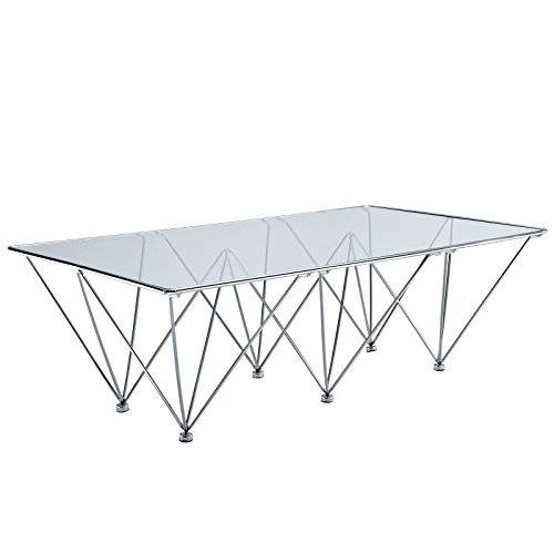- Modway Prism Modern Tempered Glass Rectangular Coffee Table With Geometric Metal Base In Clear