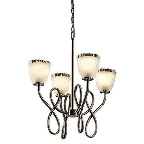 Justice Design Group Veneto Luce Collection - Capellini 4-Light Chandelier - Tulip with Rippled Rim - Brushed Nickel Finish with White Frosted Venetian Glass Shade (Capellini 4 Light Chandelier)
