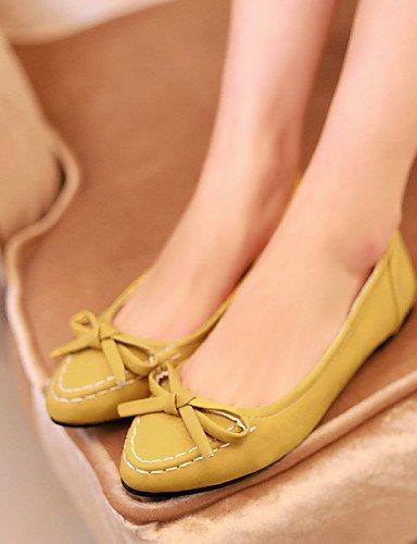 negro piel zapatos cn34 sintética yellow PDX mujer talón Casual Toe de blanco plano amarillo us5 Flats de rosa uk3 punta eu35 npqq7I