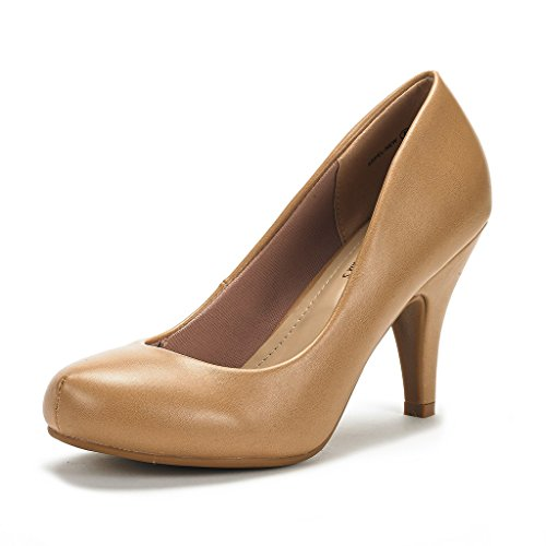 (DREAM PAIRS ARPEL Women's Formal Evening Dance Classic Low Heel Pumps Shoes New Nude Pu Size 8.5)