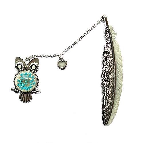 J&L House Vintage Silver Metal Brass Night Luminous Bookmarks Novelty Feather Bookmark Set Beaded with Owl Crystal Embedded Flower Handmade Gift Box Art Craft Gifts,Heart