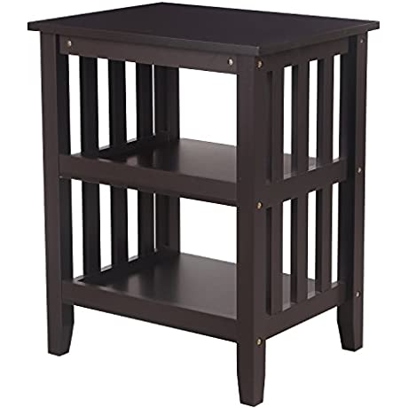 Home S Art Modern Simple Home Living Room Bed Room Hollow Out Column Side End Table Night Stand Dark Brown