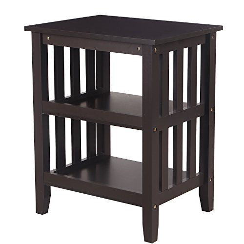 ELEGAN Mordern Simple Home Living Room Bed Room Hollow-Out Side / End Table Night Stand (Dark Brown)