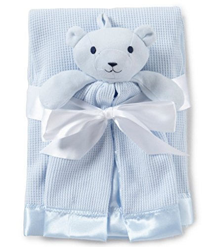 Thermal Waffle Weave Baby Blanket (Blue) and Lovey Security Blankie (Thermal Receiving Blanket Purple)