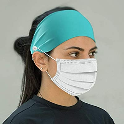 Tuuu Fashion Headbands with Buttons for Mask Holder, Hair Band for Sports to Quick Dry Sweat, Elastic Sweat Band Headband to Protect Ears: Home Improvement