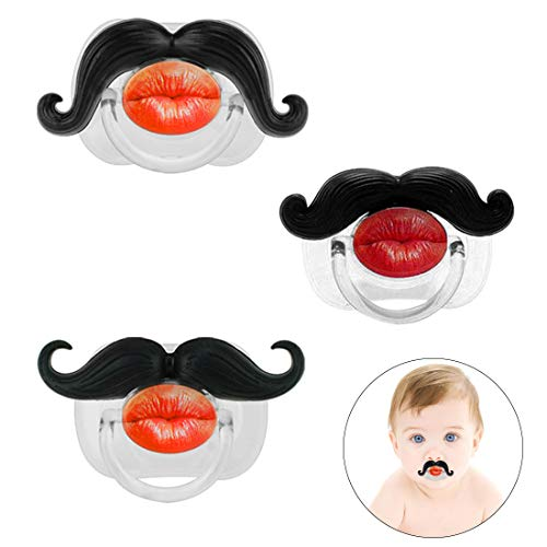 3Pcs Mustache Pacifier for Baby, KOMIWOO Funny Gentleman Mustache Lip Pacifier Cute Novelty Baby Stuff for Newborn Infant, BPA Free Latex Free Made with Soft Silicone - Great Baby Shower Gift! ()