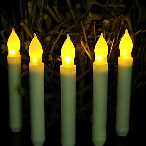 Flameless Taper Candles, LED White Pillar Candles, Yellow Flickering Light, Battery Operated Floating Hanging Candles for Harry Potter Themed Party Decorations, Halloween Christmas Wedding Home Decor ()