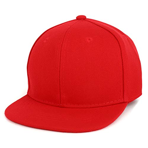 Trendy Apparel Shop Infant to Toddler Kid's Plain Structured Flatbill Snapback Cap (One Size, Red)