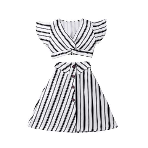 (Muasaaluxi Toddler Baby Kid Girls Short Sleeve Striped T-Shirt Crop Top + A-line Skirt Dress Summer Outfit 3-8Y (3-4Y, Black+White))
