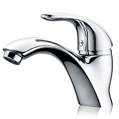 - efluky Single Handle Bathroom Faucet, Single Hole Bathroom Faucet Hot and Cold Water Vanity Faucet, Chrome Finish