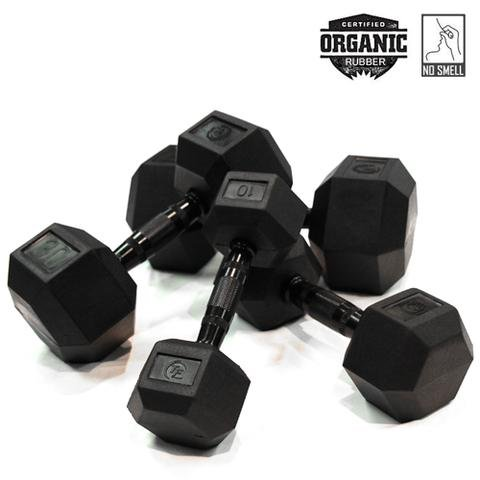 Element Fitness Virgin Rubber Commercial Hex Dumbbells - low odor- 25 lbs