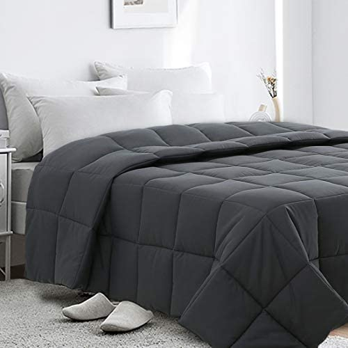 CottonHouse Twin Size(64x88) All Season Comforter Breathable Hypoallergenic Reversible Quilted Darkgrey Duvet