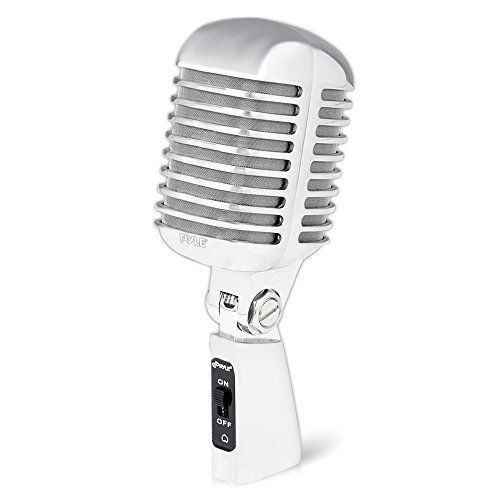 Classic Retro Dynamic Vocal Microphone - Old Vintage Style Metal Unidirectional Cardioid Mic with XLR Cable - Universal Stand Adapter - Live Performance Studio Recording - Pyle Pro PDMICR68SL (Silver) (Classic Speakers Series 1/4)