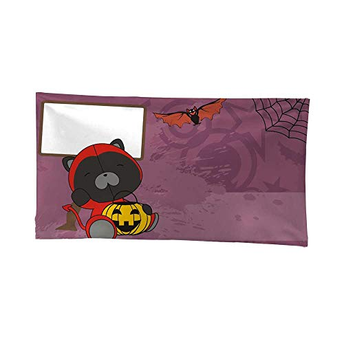 Nicely Tapestries Wall hangings Baby Panther Demon Costume Cartoon Halloween Background Gray Tapestries 72W x 54L Inch ()