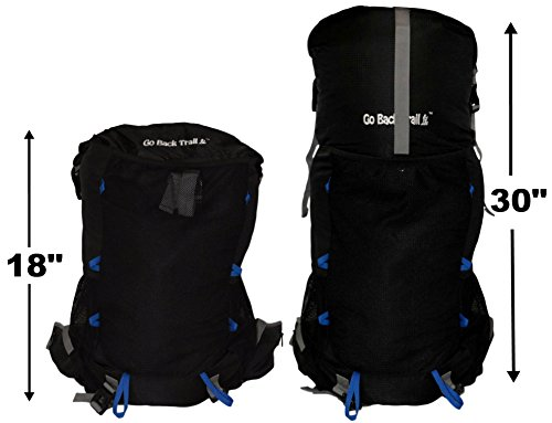 GoBackTrail Roll Top Black Backpack – ULTRALIGHT 35L – 50L with Removable  Internal Frame – Always the Right Size – Water Resistant – Comfortable for Men  and ... 2b429c111940a